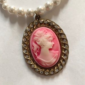 Pink and Gold Long Pearl CAMEO Necklace
